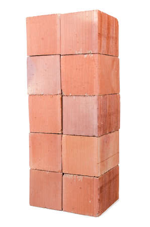 Stack of clay bricks isolated on white Stock Photo - 18484581