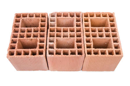 Stack of clay bricks isolated on white Stock Photo - 18484746