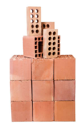 Stack of clay bricks isolated on white Stock Photo - 18484479