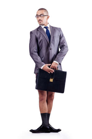 male businessman with briefcase on white photo