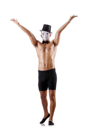 shirtless muscular mime isolated on white photo