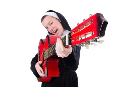 Nun playing guitar isolated on white Stock Photo - 18664248