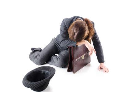 Businesswoman begging some money on white Stock Photo - 18482324