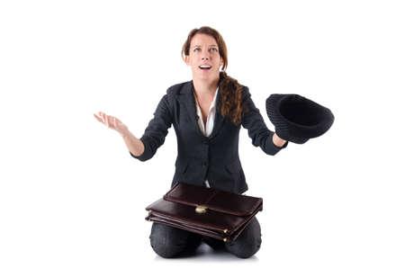 Businesswoman begging some money on white Stock Photo - 18654774