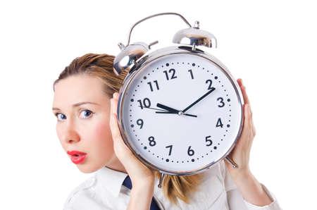 Nerd businesswoman with gian alarm clock Stock Photo - 18664514