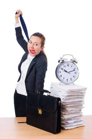 Woman businesswoman with giant alarm clock Stock Photo - 18664587