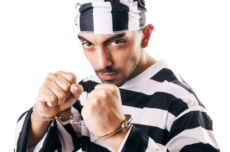 Convict criminal in striped uniform Stock Photo - 18664658