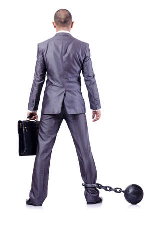 Businessman with shackles on white Stock Photo - 18481681