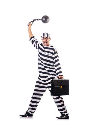 Convict criminal in striped uniform Stock Photo - 18664152