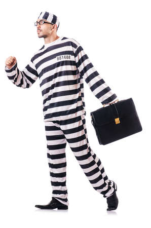 Convict criminal in striped uniform Stock Photo - 18664463