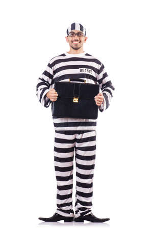 Convict criminal in striped uniform Stock Photo - 18664227