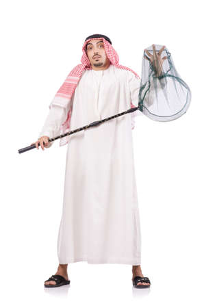 Arab businessman with catching net on white Stock Photo - 18664407