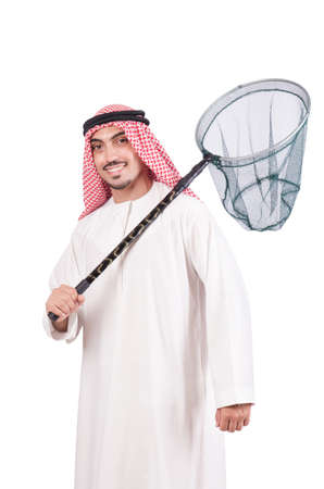 Arab businessman with catching net on white Stock Photo - 18664542