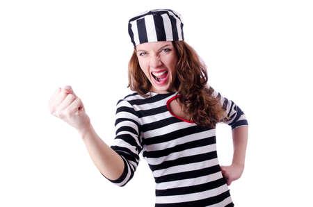 Convict criminal in striped uniform Stock Photo - 18664467