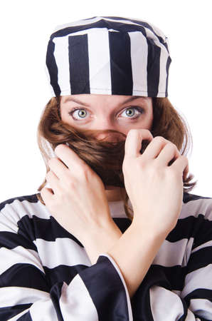 Convict criminal in striped uniform Stock Photo - 18664697
