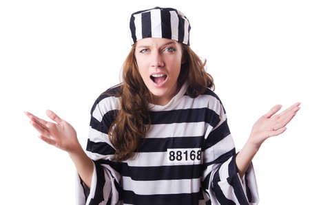 Convict criminal in striped uniform Stock Photo - 18664555