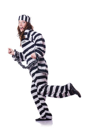 Prisoner in striped uniform on white Stock Photo - 18664187