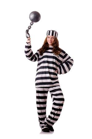 inmate: Prisoner in striped uniform on white Stock Photo
