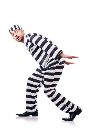 Convict criminal in striped uniform Stock Photo - 18652852