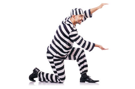 Convict criminal in striped uniform Stock Photo - 18652437