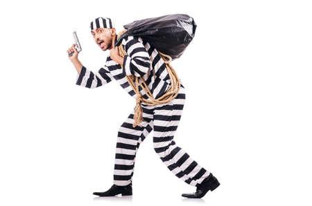 Convict criminal in striped uniform Stock Photo - 18664215