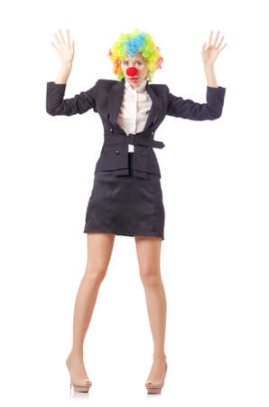 Woman clown in business suit Stock Photo - 18664150