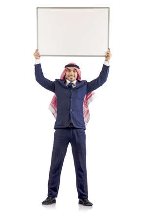 Arab man with blank board for message photo