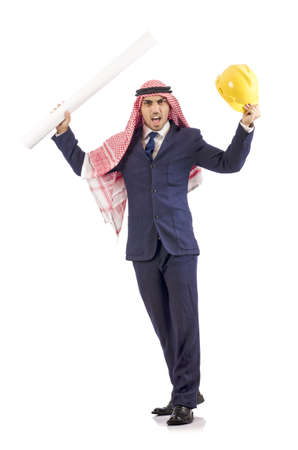 Arab engineer with drawings on white Stock Photo - 18664244
