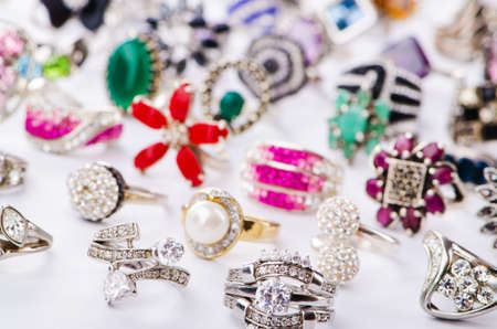 Collection of jewellery rings on white Stock Photo - 18609090