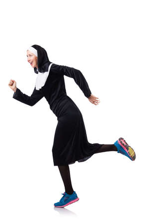 Nun isolated on the white background Stock Photo - 18650786