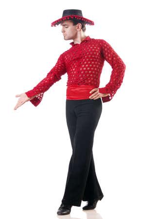 spanish style: Man dancing spanish dances on white Stock Photo
