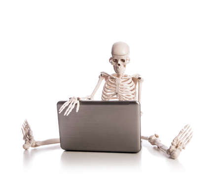 Skeleton working on laptop Stock Photo - 18608392