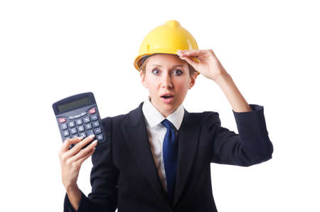 Female construction worker with calculator photo