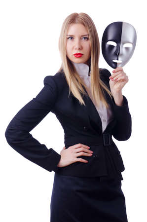 Woman with mask in hypocrisy concept Stock Photo - 18650943