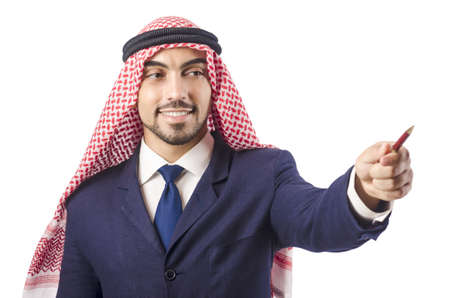 Arab man pressing virtual buttons Stock Photo - 18650983
