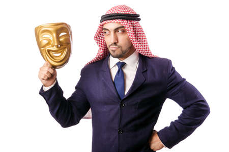 insincere: Arab businessman isolated on white