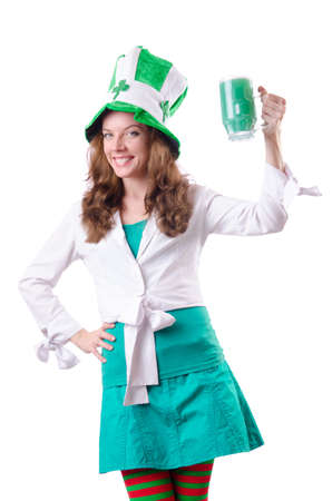 Young girl in saint patrick celebration concept Stock Photo - 18650902