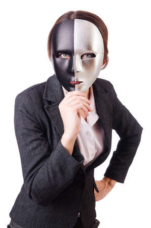 Woman with mask in hypocrisy concept Stock Photo - 18609506