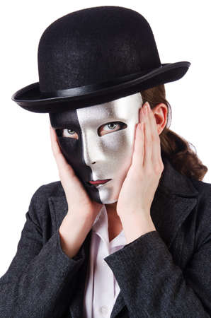 Woman with mask in hypocrisy concept Stock Photo - 18609528