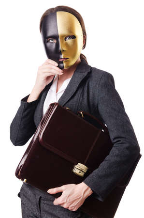 Woman with mask in hypocrisy concept Stock Photo - 18609317