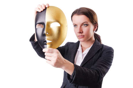 Woman with mask in hypocrisy concept Stock Photo - 18608546