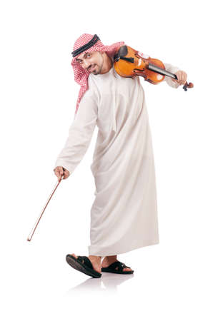 Arab man playing violin isolated on white Stock Photo - 18650811
