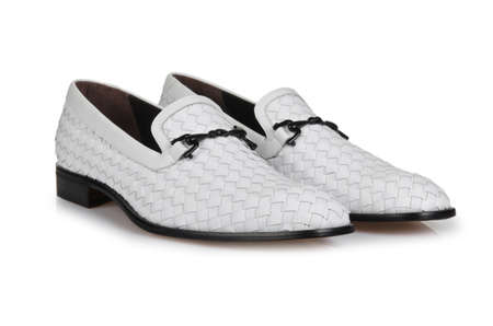 Fashion concept with male shoes on white Stock Photo - 18607313