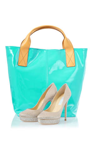 Elegant bag and shoes on white Stock Photo - 18608415