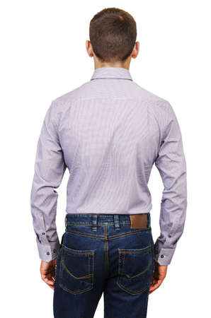 Male model with shirt isolated on white Stock Photo - 18609526