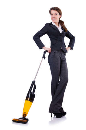 Young woman with vacuum cleaner on white photo