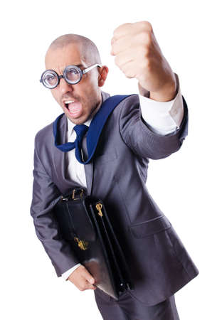 Funny nerd businessman on the white Stock Photo - 18651012