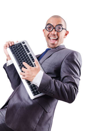 Nerd businessman with computer keyboard on white Stock Photo - 18651039
