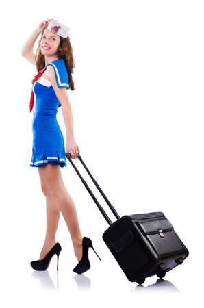 Woman sailor with suitcase on white Stock Photo - 18650829