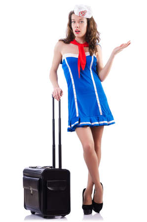 Woman sailor with suitcase on white Stock Photo - 18650899